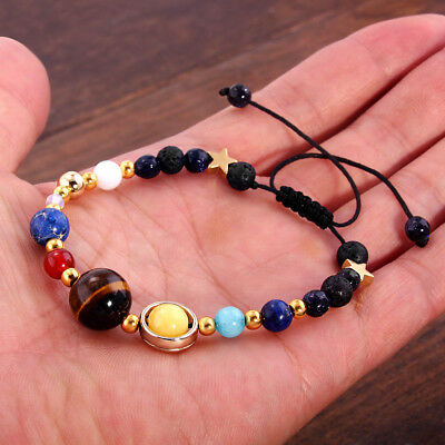 New Bracelet Galaxy Solar System Eight Planets Theme Natural Stone Beaded Gift