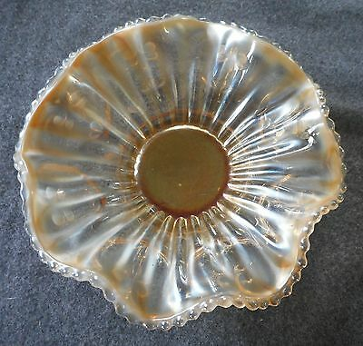 """Antique Dugan Peach Opalescent Smooth Ray Jeweled Heart 6"""" Ruffled Bowl"""