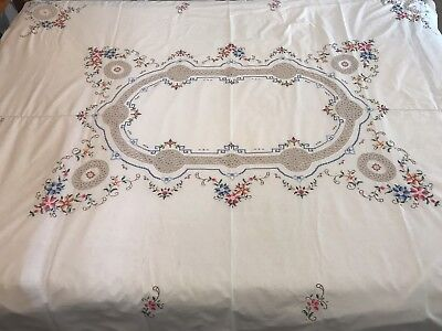 Vintage Hand Embroidered Cross Stitch Tablecloth with Crochet Inlay