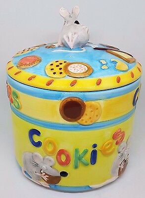 Large Vintage Colourful Cookie Jar Mouse Animal Theme Biscuit Tin Storage