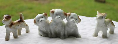 Lot of 3 Vintage 1930s Porcelain Miniature Puppy Dog Figurines 3 pups in a row