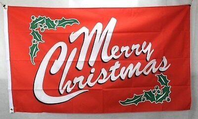 Big 1.5 Metre Red Merry Christmas Large New Flag 3x5ft Party Decoration