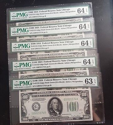 5 Consecutive $100 UNC 1934 DGS Fr#2152-Gdgs PMG 63 64 EPQ Rare First Issue