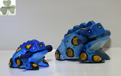 "2 Frogs, Guiro Rasp, Wooden Musical Toy, Blue with Yellow/Blk Spots, 2"" and 4"""