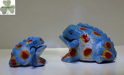 "2 Frogs, Guiro Rasp, Wooden Musical Toy, Blue with Orange/Red Spots, 2"" and 4"""
