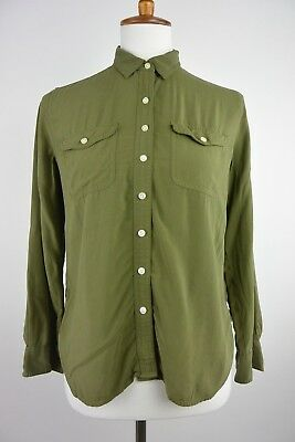 31684b9f166785 ANN TAYLOR LOFT Olive Green Button Down Blouse - Small Petite PS ...