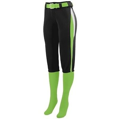 (Ladies XL, Black with Lime/White Side Pipping) - Girls/Ladies Softball Low