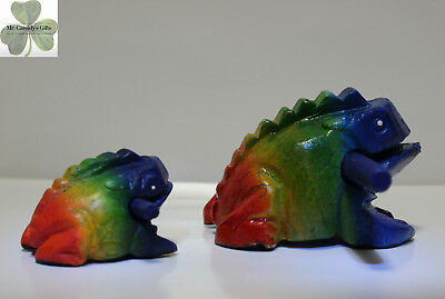 "2 Frogs, Guiro Rasp, Wooden Musical Toy, Rainbow Colors, 2"" and 4"" size"