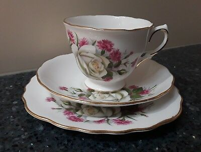 Royal Vale White Rose Cup, Saucer & Side Plate Trio Made in England