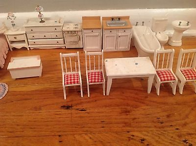 Vintage Huge Lot of Doll House Miniature Furniture, Accessories, Dolls