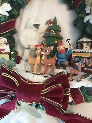 Rare Rudolph Red Nosed Reindeer Christmas Wreath Hawthorne Village Light Up Exc