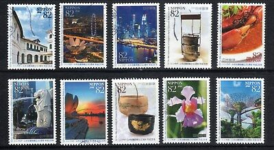2016 Used  50th Anniv. of Singapore-Japan Relation 10 diff. stamps.  Latest! 20