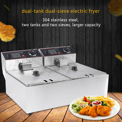 New 12L Chef Commercial Electric Deep Twin Fryer Frying Basket Chip Cooker Fry