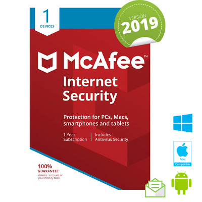 McAfee Internet Security 2019 1 PC/MAC/TABLET 12 MONTHS LICENSE Antivirus 2018