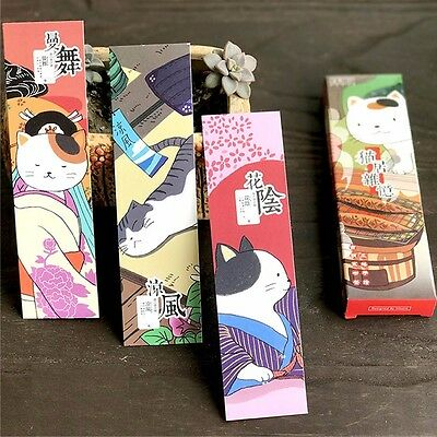 30pc/Box Leisurely Cat Bookmark Book Mark Magazine Note Label Memo School #JP