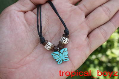 10 Handmade BLUE Butterfly White Bone Coconut Shell Beads Necklaces Wholesale
