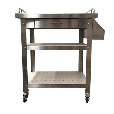 Stainless Steel Kitchen BBQ Cart Serving Trolley with Slide Out Drawer