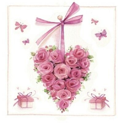 3 Paper Napkins for Decoupage / Parties / Weddings - Hearts