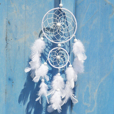 SKONHED Handmade White Dream Catcher With Feather Wall Hanging Car Ornaments