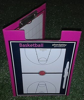 BASKETBALL WRITE/WIPE TACTIC Clipboard for TRAININGS & GAMES+Pen & Clip. ITEM 74