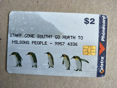 $2 Penguins Phonecard Overprinted Milsons People 98002084P Exp 06/2000