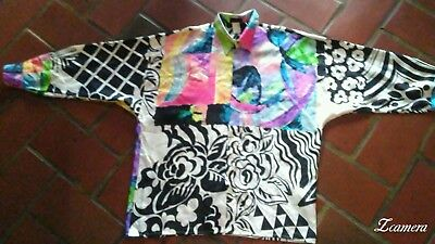 Gianni Versace Vtg '90's Istante Silk Shirt Double Point Collar Mixed Art 52/XL