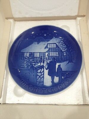 Vintage Bing and Grondahl Blue and White Porcelain Plate 1973 Christmas Plate