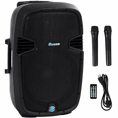 "Portable 15"" 1000W Rechargable Battery Powered Speaker DJ/PA System Bluetooth"