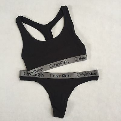Calvin Klein Radiant 2 pc Underwear Black Sports Bra Bralette & Thong Set S,M,L