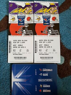 minnesota vikings vs cleveland browns NFL london x 2 tickets twickenham Oct 29