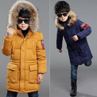 Winter Kids Boys Padded Coat School Quilted Jacket Puffer Fur Hooded Long Parka