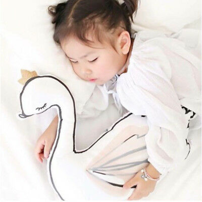 Swan Pillow Kids Ins decor Cushion Stuffed Toy Soothe toy with Music Box