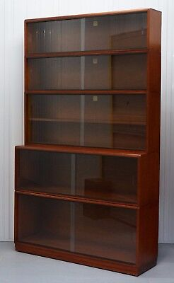 1960's Simplex Mahogany Full Sized Library Stacking Bookcases 205Cm Tall 5 Piece