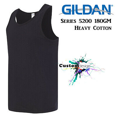 Gildan Black blank plain Tank Top Singlet Shirt S - 3XL Men's Heavy Cotton