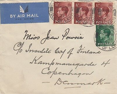 F 2505  Stornoway Western isles / Outer Hebrides Jan 1937 airmail cover Denmark
