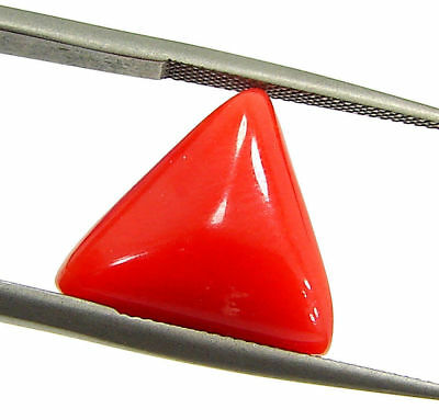 5.27 Ct Certified Natural Red Coral Loose Gemstone Triangle Stone - 130527