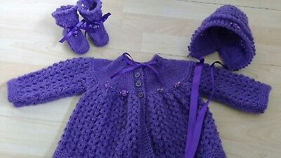 Hand knitted matinee coat / cardigan, bonnet and bootees 0 - 3 months purple