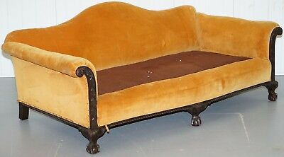 Rare Large Edwardian Oak Claw & Ball Feet Club Sofa For Restoration Upholstery