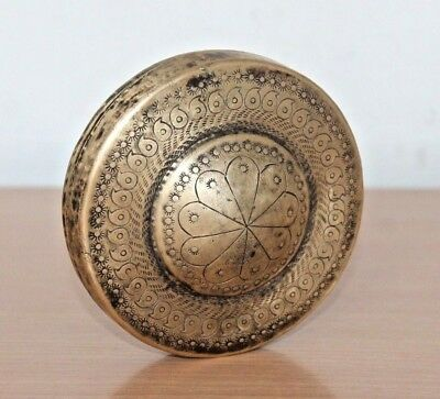 1920's Old Antique Beautiful Handmade Carved Design Brass Pocket Mirror #545