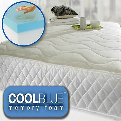 Cool Blue Memory Foam Quilted Sprung 3ft Single 4ft6 Double 5ft King Mattress UK