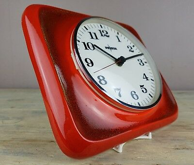 Pewetra  Red FAT LAVA West German Ceramic Wall Clock Perfect Condition