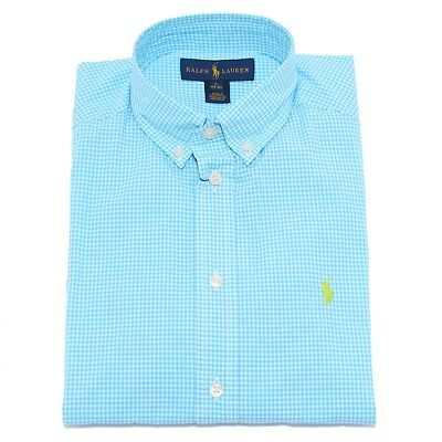 9138T camicia bimbo RALPH LAUREN turchese/bianco shirt long sleeve turquoise boy