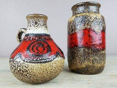 Pair  small FAT LAVA West Germany Vases by Scheurich in matching glazes