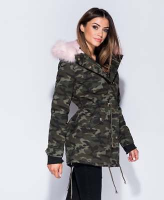 SALE PriceLadies Camouflage Khaki Pink Faux Fur Trim Parka Jacket Coat Size 6-14