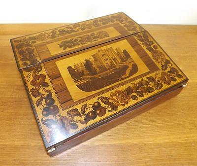 Victorian Tunbridge Ware Writing Slope With 'Hever Castle'. 1860's