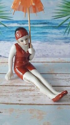 Superb 1920 Art Deco Style Bathing Beauty Souvenir Blankenberge Pin Cushion Doll