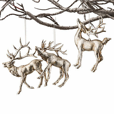 Soft Gold Stag Decorations, set of 3 in different poses. 10cm each