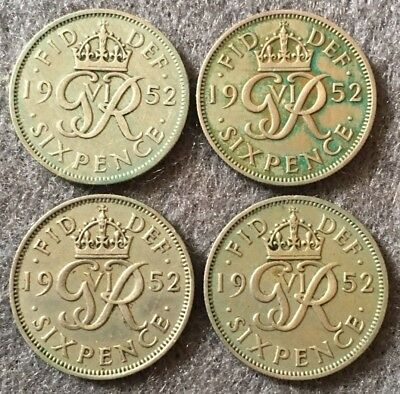 Four 1952 King George VI Sixpences