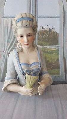 "Super Bisque 1920s Style Regal ""Madame De Pompadour & Fan"" Pin Cushion Half Doll"