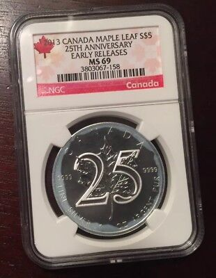 2013 CANADA MAPLE LEAF S$5 25TH ANNIVERSARY NGC MS 69 with milk spots